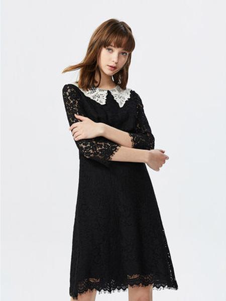 莱茵女装品牌2020春夏甜美大翻领蕾丝连衣裙赫本风性感收腰长款女裙子
