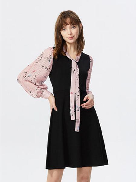 莱茵女装品牌2020春夏连衣裙拼接气质连衣裙蝴蝶结飘带修身法式A字裙