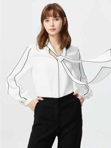 莱茵女装品牌2020春夏衬衫女小众撞色设计感不规则百搭上衣飘带衬衫女