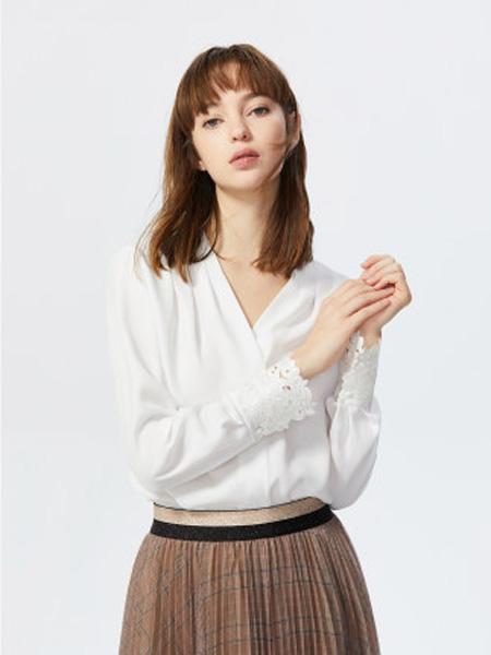莱茵女装品牌2020春夏韩版白色衬衫女v领镂空小众设计感上衣雪纺衬衣