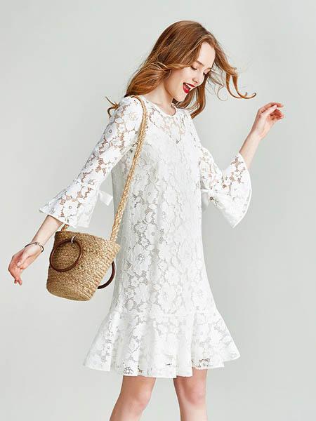 HAVVA女装品牌2020春夏蕾丝荷叶边连衣裙