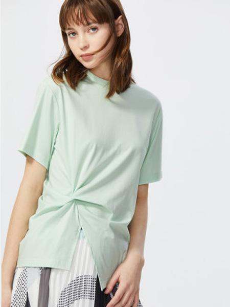 莱茵女装品牌2020春夏韩版时尚上衣纯色圆领收腰显瘦大牌短袖莫代尔t恤女