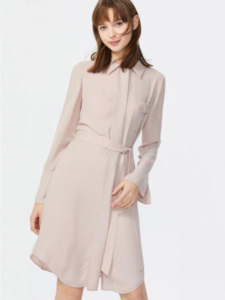 莱茵女装品牌2020春夏衬衫式女裙子可拆卸腰带休闲通勤时尚百搭连衣裙