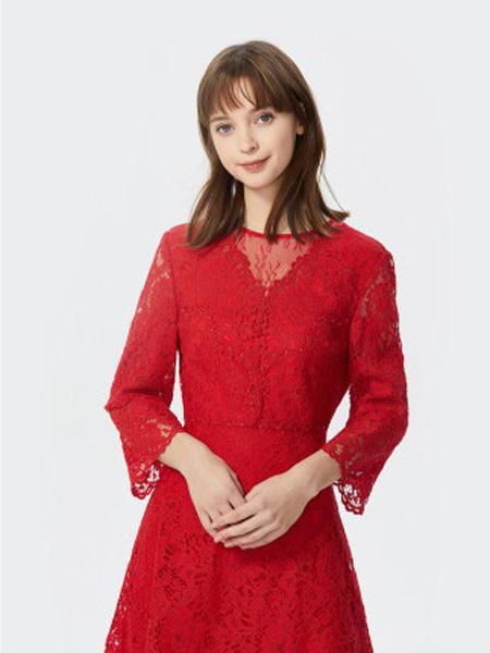 莱茵女装品牌2020春夏流行时尚连衣裙浪漫蕾丝女士a字裙红色