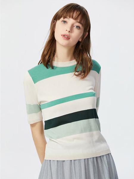 莱茵女装品牌2020春夏短袖针织衫女时尚撞色清新减龄修身显瘦大牌薄款上衣
