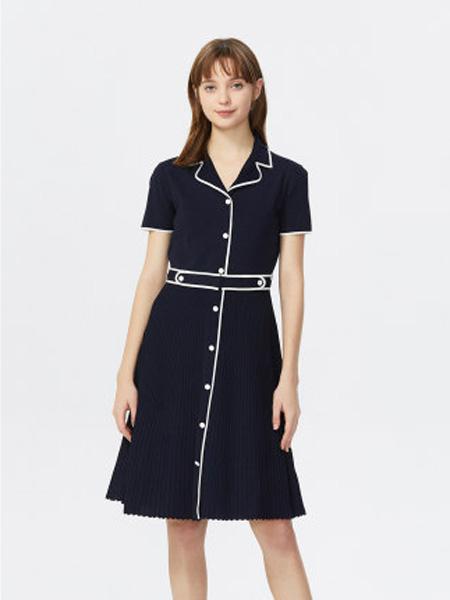 莱茵女装品牌2020春夏法式复古伞裙气质翻领收腰赫本风薄针织连衣裙女
