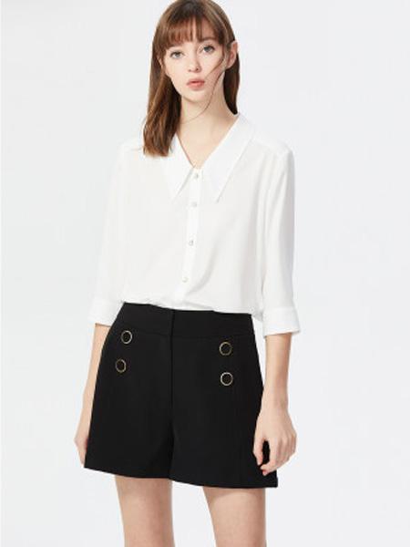莱茵女装品牌2020春夏衬衫女设计感小众尖领雪纺百搭中长袖雪纺衬衣女