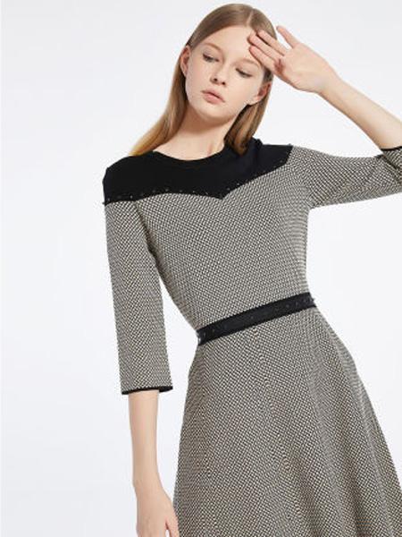 莱茵女装品牌2020春夏女裙法式撞色圆领钉珠装点连衣裙