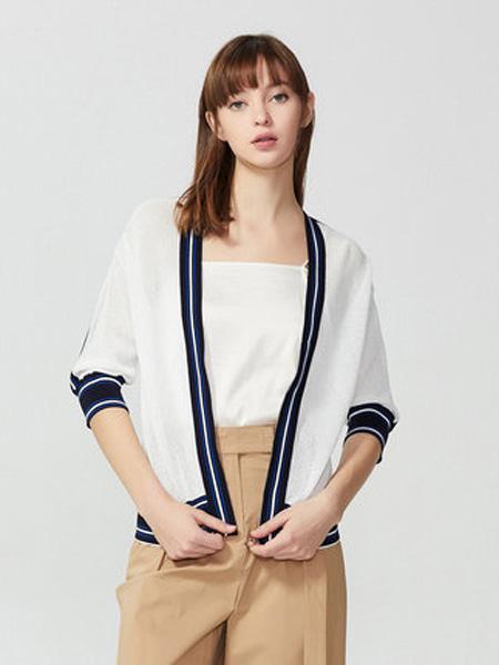 莱茵女装品牌2020春夏时尚大气V领撞色织带针织开衫女