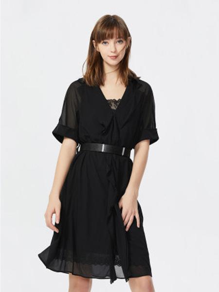 莱茵女装品牌2020春夏西服式翻领荷叶边可拆卸腰带连衣裙