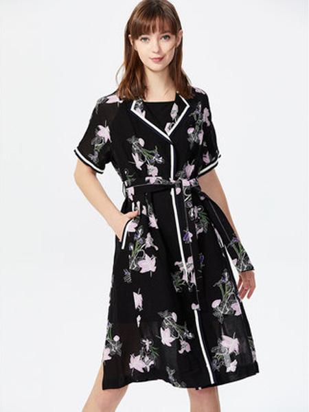 莱茵女装品牌2020春夏西服式小翻领撞色织带连衣裙女