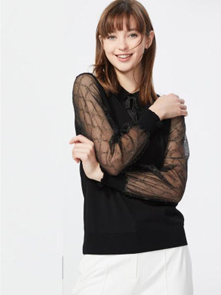 莱茵女装品牌2020春夏娃娃领衬衫女韩版蝴蝶结性感透明蕾丝袖薄衬衣