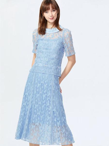 萊茵女裝品牌2020春夏甜美泡泡袖絲滑吊帶蕾絲薄針織衫女