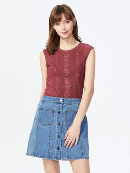 萊茵女裝品牌2020春夏女圓領蕾絲拼接修身無袖薄針織衫女