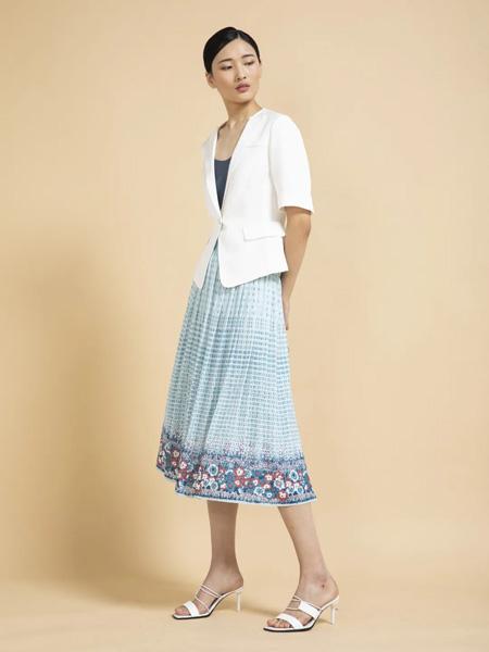 杰克林女装品牌2020春夏浅蓝色连衣裙