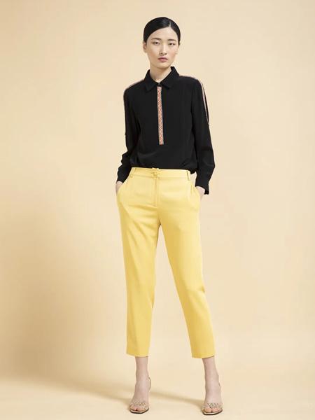 杰克林女装品牌2020春夏黑色雪纺衫黄色长裤