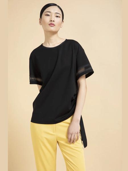 杰克林女装品牌2020春夏黑色T恤雪纺衫