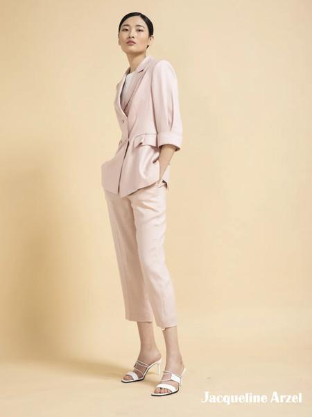 杰克林女装品牌2020春夏浅粉色西装套装