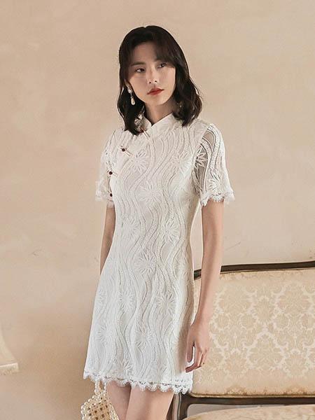 弥古女装品牌2020春夏修身旗袍改良版连衣裙