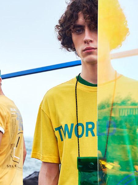 HX男装品牌2020春夏字母黄色T恤