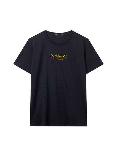 翡翠男装品牌2020春夏印花短袖T恤韩版时尚体恤黑色圆领上衣潮
