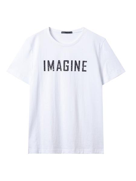 翡翠男装品牌2020春夏白色短袖T恤圆领纯棉体恤韩版修身短款t恤上衣