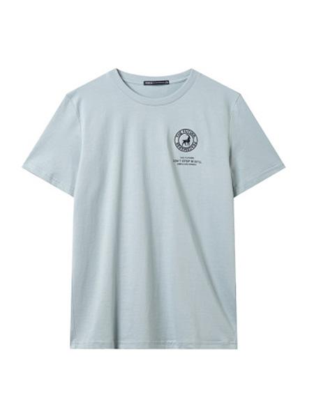 翡翠男装品牌2020春夏短袖T恤男潮流印花纯棉宽松体恤潮