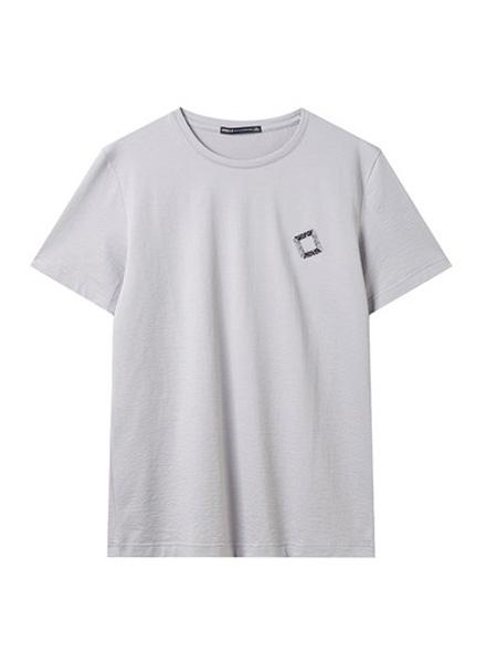翡翠男装品牌2020春夏T恤男短袖纯色宽松日常休闲胸前印花体恤