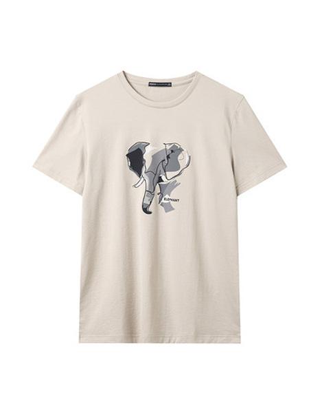 翡翠男装品牌2020春夏T恤男短袖动物印花宽松潮流帅气青年体恤