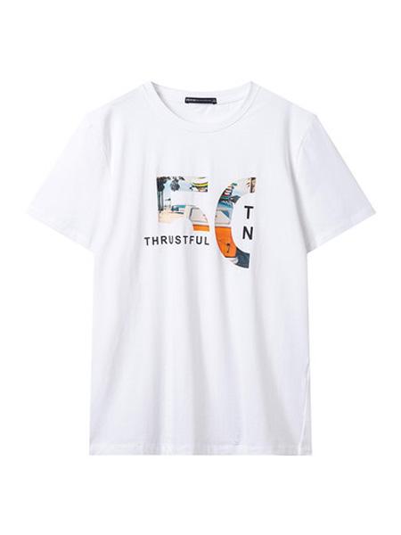 翡翠男装品牌2020春夏T恤男短袖宽松潮流印花休闲T恤