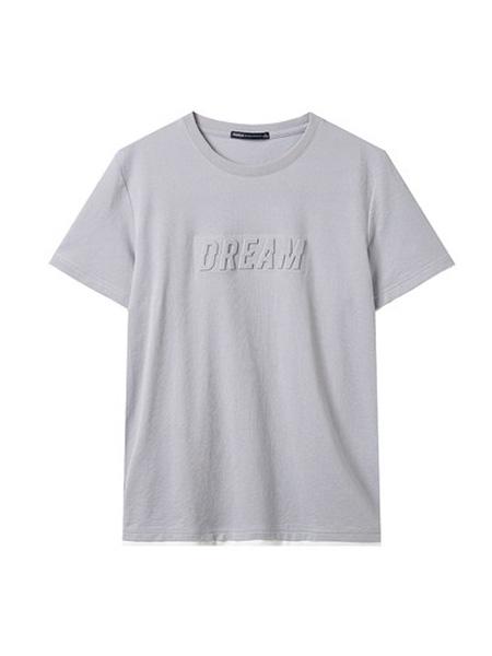翡翠男装品牌2020春夏立体印花短袖T恤韩版时尚体恤粉色圆领t恤修身上衣