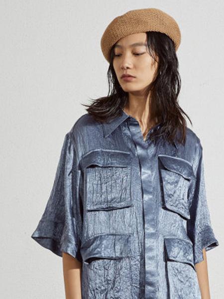 子苞米女装品牌2020春夏100%丝滑醋纤中长款做旧翻领衬衫
