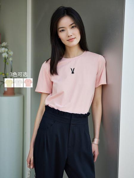 洛可可女装品牌2020春夏修身粉色上衣