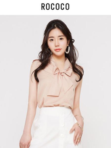 洛可可女装品牌2020春夏无袖V领洋气雪纺衬衫甜美气质上衣