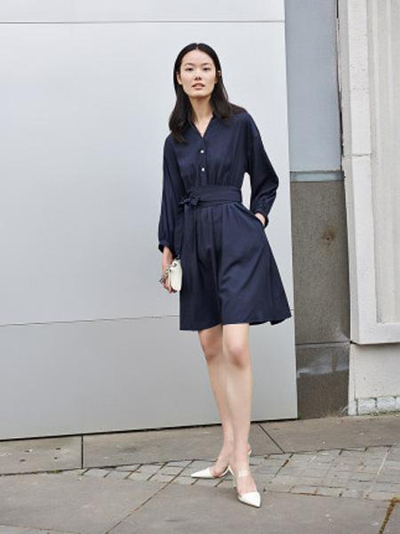 洛可可女装品牌2020春夏假两件高腰连衣裙中裙女
