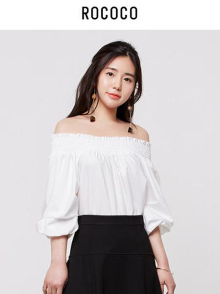 洛可可女装品牌2020春夏白色一字领宽松系带T恤女时尚短袖