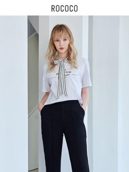洛可可女装品牌2020春夏字母时尚系带设计短袖t恤女宽松圆领