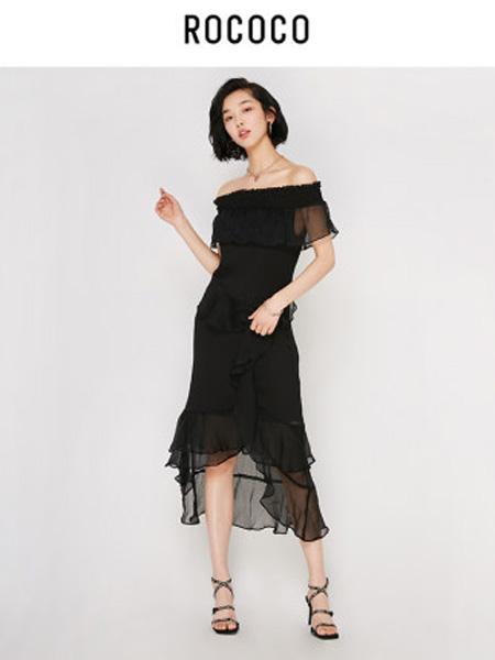 洛可可女装品牌2020春夏不规则雪纺荷叶边连衣裙女中长裙