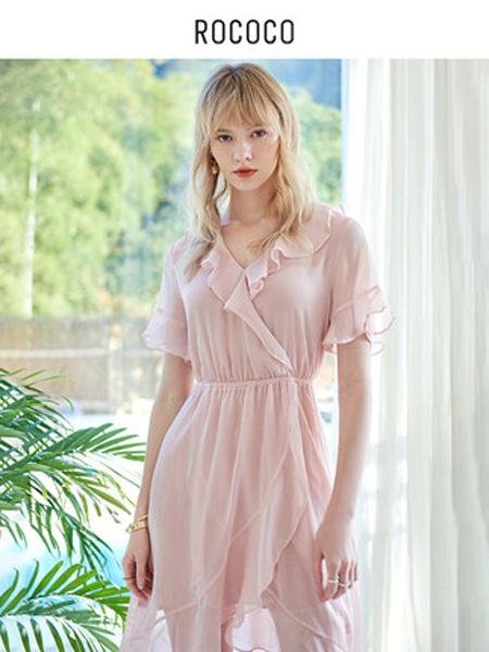 洛可可女装品牌2020春夏荷叶边性感v领淑女花边袖口设计连衣裙