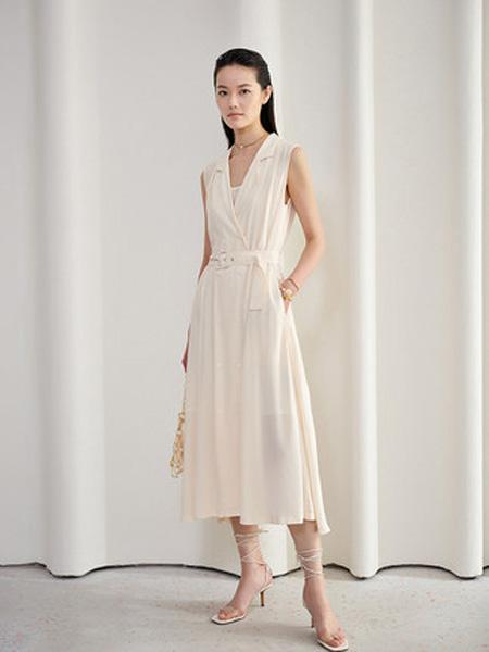 洛可可女装品牌2020春夏高腰无袖连衣裙女法式气质长裙