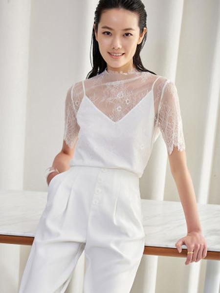 洛可可女装品牌2020春夏洋气蕾丝雪纺衫女短袖两件套上衣