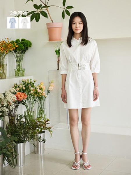 洛可可女装品牌2020春夏POLO领法式高腰连衣裙女士中长款