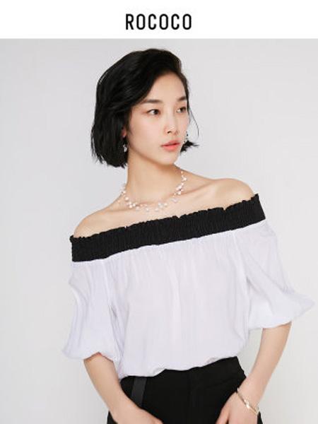 洛可可女装品牌2020春夏甜美一字领露肩雪纺衫女气质小衫
