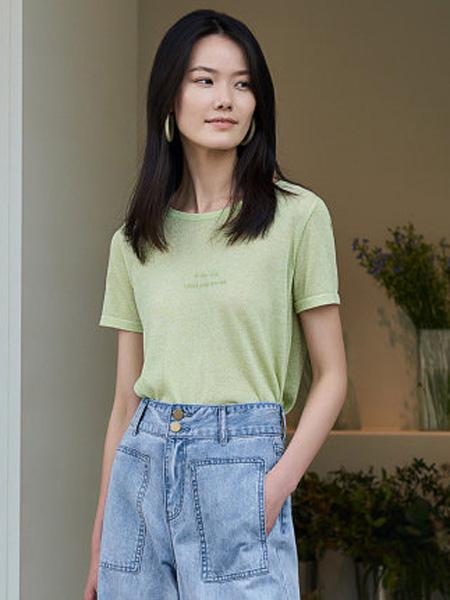 洛可可女装品牌2020春夏字母短袖针织衫女宽松休闲上衣