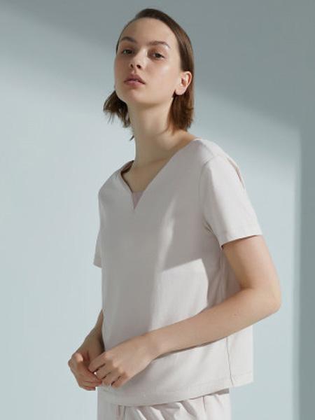 NEIWAI内外内衣品牌2020春夏带胸垫短袖睡衣上衣单件女家居服棉质可外穿春夏