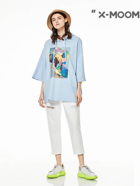 x-moom女装品牌2020春夏宽松七分袖圆领T恤