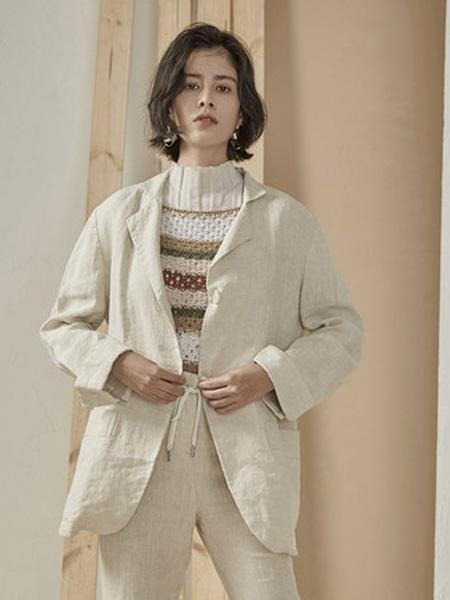 子苞米女装品牌2020春夏简约100%亚麻透气薄西装短外套女