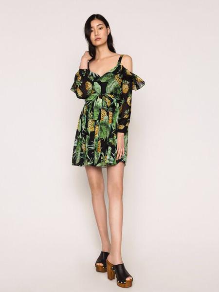 TWINSET女装品牌2020春夏露肩菠萝连衣裙