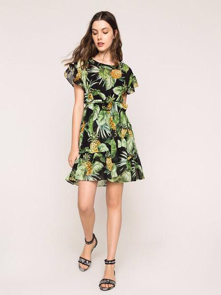 TWINSET女装品牌2020春夏菠萝连衣裙