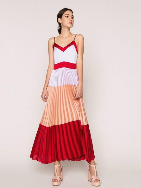 TWINSET女装品牌2020春夏吊带红边连衣裙